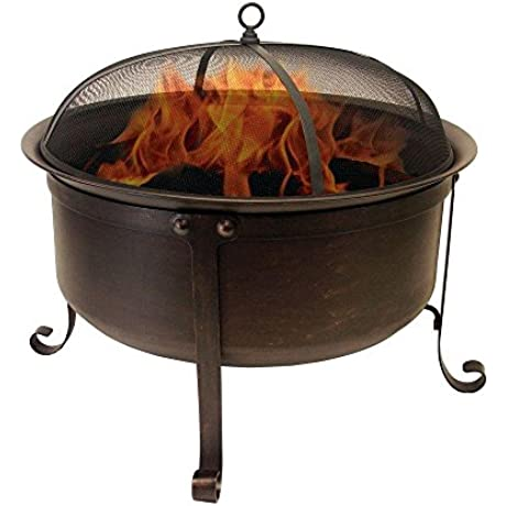Catalina Creations Round Cauldron Wood Burning Patio Fire Pit With Oil Rubbed Bronze Finish Mesh Spark Screen And Accessories 34 L X 34 W