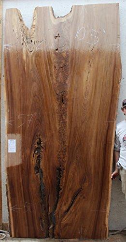 Figured Live Edge Desktop Unfinished English Elm Natural Wood Slab Table  Top Rustic Kitchen Island Bar