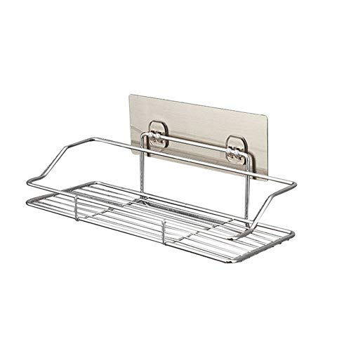 Aoile Bathroom Shelf Organizer Storage Shower Caddy Kitchen Rack Wall Mounted with Traceless Transparent Adhesive, Stainless Steel S