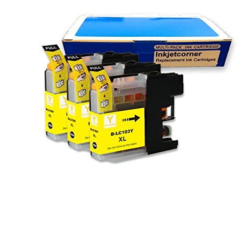 Inkjetcorner 3 YELLOW Compatible Ink Cartridge for Brother LC101 LC103 XL MFC-J245 MFC-J285DW MFC-J450DW MFC-J470DW MFC-J475DW MFC-J650DW MFC-J870DW MFC-J875DW (Version 3)