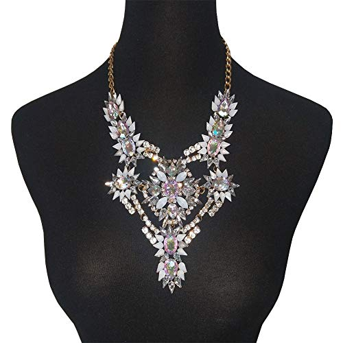 NABROJ Gorgeous Flower Floral Statement Necklace Chunky Charm Pendant with Oval Pear Crystals and White Marquise Drag Queen Jewelry for Women-HL36 Crystal
