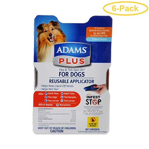 Adams Plus Flea & Tick Spot On for Dogs with Reusable Applicator Medium Dogs - 3 Month Supply - (Dogs 15-30 lbs) - Pack of 6