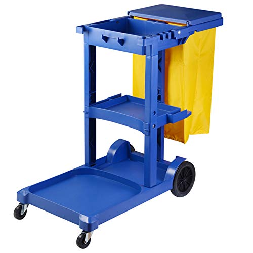ZAQI Janitorial Schoonmaakwagen met Deksel en Wielen, 3 Plank Heavy Duty Commerciële Traditionele Huishoudelijke Trolley…
