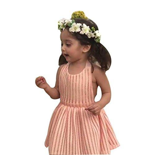 Goodlock Toddler Infant Fashion Dress Baby Girl Strap Hole Lace Backless Princess Dress Romper Outfits (Size:18M) Pink Velvet Leotard