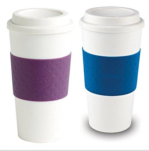 (Copco Acadia Reusable To Go Mug, 16-ounce Capacity - 2 Pack - Blue & Plum)