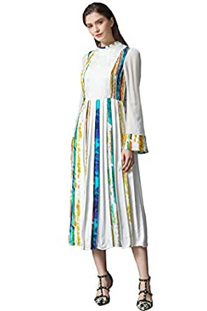 563aa42a VOA Women's Silk Contrast Patchwork Midi Dress With Flare Sleeves A317
