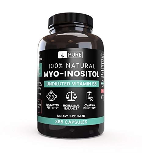 Inositol Caps 100 Capsules - 100% Pure Myo-Inositol 365 Capsules | 3 Month Supply | No Additives or Magnesium Stearate Fillers | All-Natural | Vegetarian | 1,860mg Undiluted Vitamin B8 Myo-Inositol Powder | Made in USA