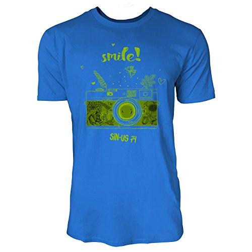 SINUS ART ® Analoge Kamera – Smile Herren T-Shirts in Blau Fun Shirt mit tollen Aufdruck