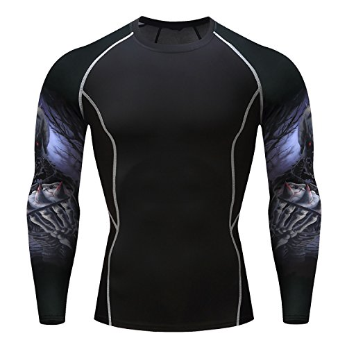 - Fanii Quare Men's Quick-Dry Sports Tights Long Sleeve Compression Activewear T-Shirt Skull 1003 XL