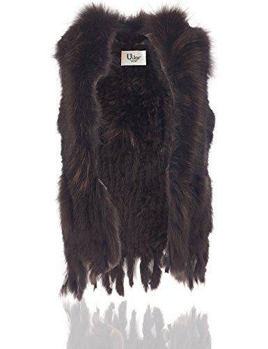 Coniglio Delle Pelliccia Donne 100 Co Knit Marrone Di Uilor® Naturale Raccoon Con Gilet wHRtInxq6