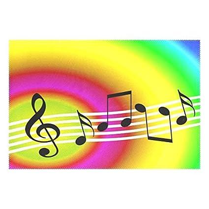 Amazon com: Polyter Table Mat Random Musical Symbols with Rainbow