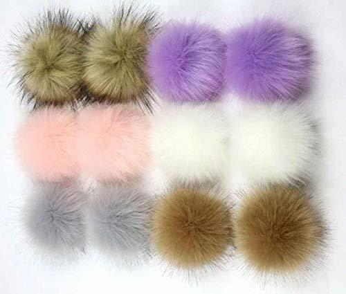 NASHALYLY DIY 12pcs Faux Fox Fur Fluffy Pompom Ball for Hat Shoes Scarves Bag Charms (C) ()
