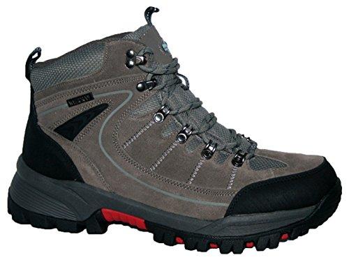 Para hombre Rae Premium piel superior impermeable senderismo/senderismo trekking botas gris