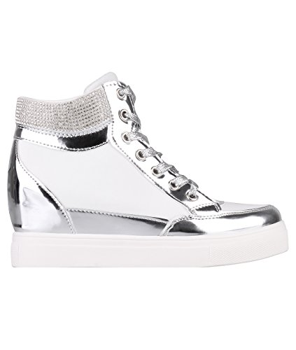 Bling Contrast Wedge Trainers (White , US 7),[5590-WHT-5] Metallic White Leather