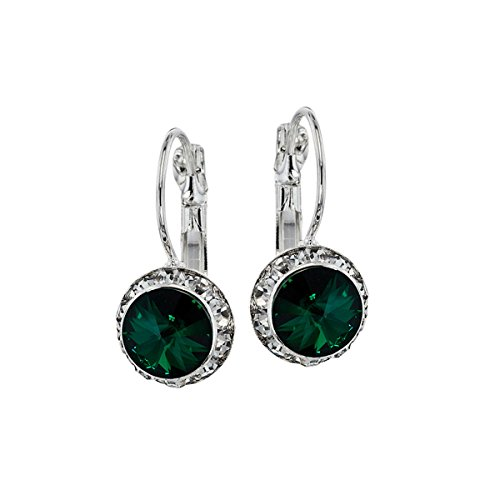 Euro Wire Earrings Styles By JS Swarovski Crystals Rondelle Birthstone Earrings (05- Emerald Green - May)