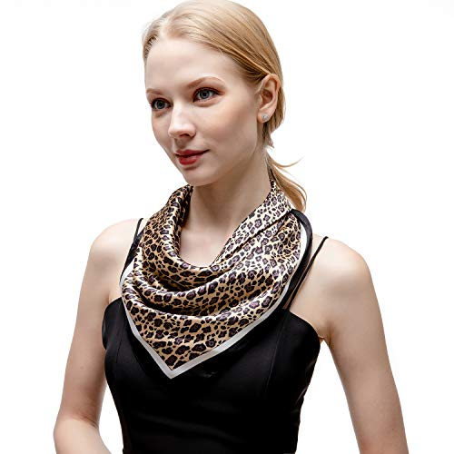 Leopard Silk Scarf - RIIQIICHY Women's 27.16'' Silk Satin Square Leopard Print Hair Head Scarf Neckerchief