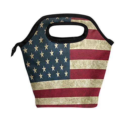 ALAZA American Flag Insulated Lunch Tote Bag, Classic July 4Th USA Reusable Waterproof School Picnic Carrying Lunchbox Container Organizer For Women Men