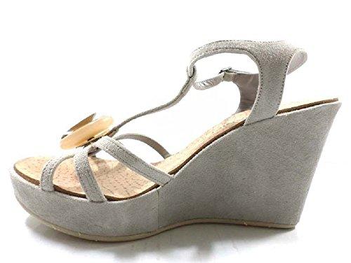 Zapatos Mujer EDDY DANIELE 37 Sandalias Cuñas Beige Gamuza AX833