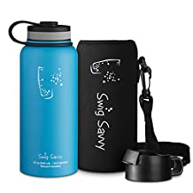 Swig Savvy's Stainless Steel Vacuum Insulated Water Bottle Wide Mouth 32 oz Capacity Double Wall Design 100% Leak & Sweat Proof for Hot and Cold Beverages - Includes water bottles Pouch & Coffee Lid
