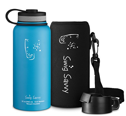 Swig Savvy's Stainless Steel Insulated Water Bottle, Wide Mouth 32 Oz Capacity, Double Wall Design, for Hot and Cold Beverages, Incloueds Pouch and Coffee Lid