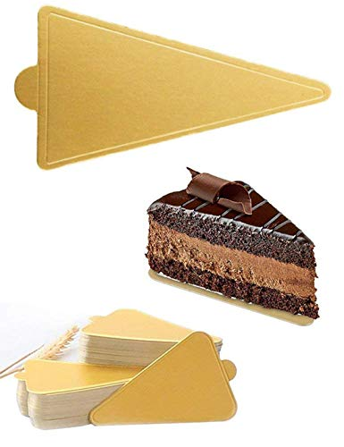 HansGo Mini Triangle Golden Cardboard Cake Base, 100PCS Cake Paper Plates Circle Cardboard Base Dessert Board Base Grease,Durable Pastry Cardboard by HansGo