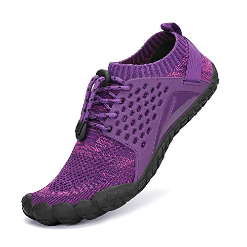 SAJOMCE Mens Womens Trail Running Shoes Outdoor Barefoot Walking Shoes Water Hiking Shoes Wide Toe Box Purple