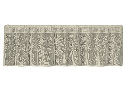 Hang Valance Curtains - Heritage Lace Rabbit Hollow Valance, 60 by 15-Inch, Cafe