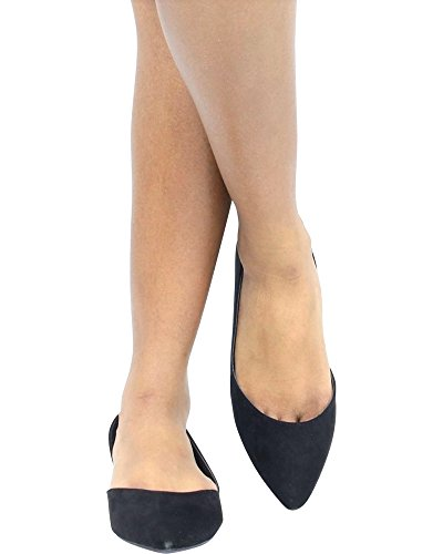 Black Womens Wild Pointy Fashion Flats DOrsay Casual Lounge Diva Flats qwzTnwCAR