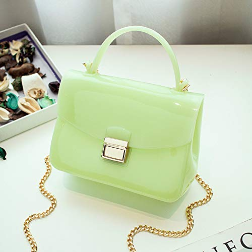 Solid Tote Bag Women's green Pack Jelly Color Shoulder WEII Chain Crossbody Casual Mini Beach dwX0HFqq8n