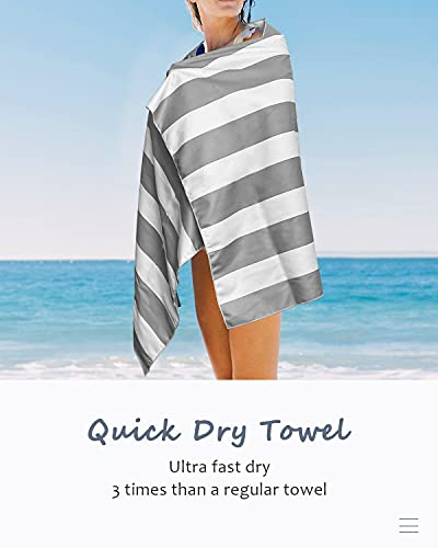 Microfiber Beach Towel- Four Colors Classic Stripe , Oversized Super Absorbent Quick Dry Towel Blanket, Suitable for Gym, Beach, Pool, Travel, Bath, Yoga for Kids and Adults