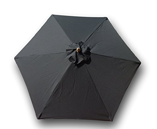 Formosa Covers 9ft Umbrella Replacement Canopy 6 Ribs in Black (Canopy -