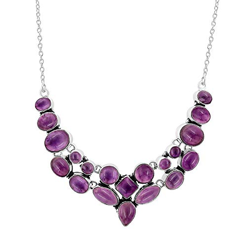 - Natural Multi Shape Amethyst Necklace 925 Silver Overlay Handmade Vintage Style Fashion Jewelry for Women Girls