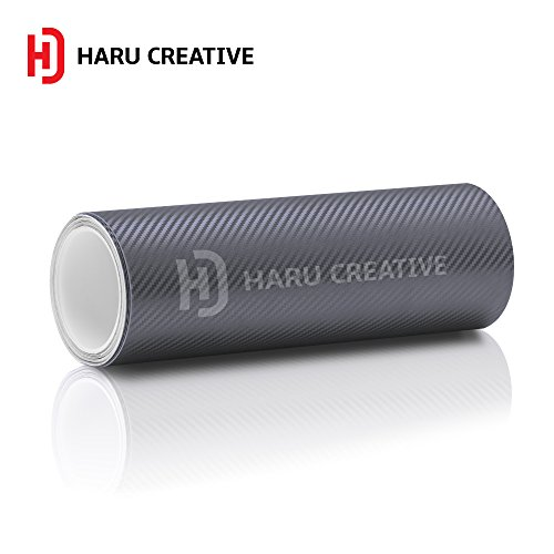 Haru Creative 3D Carbon Fiber Matte Vinyl Wrap Roll with Air Release Technology - Gunmetal - 60