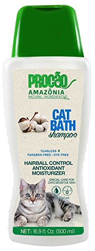 PROCÃO: Cat Bath Shampoo (16.9 oz) - Sensitive Skin Care - Moisturizer and Antioxidants - Sustainably Sourced from Amazon Rainforest - No Parabens or Dyes - Hair Ball Control - Tearless