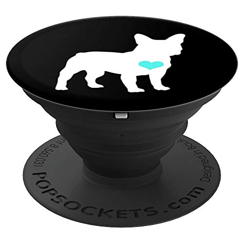 French Bulldog, Frenchie, Teal Heart, Love Bull Dog Mom Cute - PopSockets Grip and Stand for Phones and Tablets ()