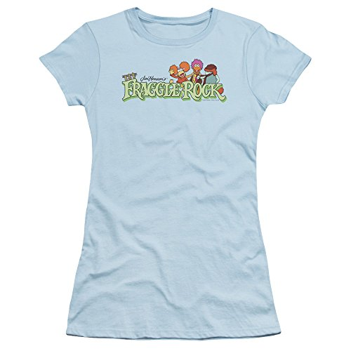 (Fraggle Rock Classic TV Show Logo With Characters Juniors Sheer T-Shirt Tee)