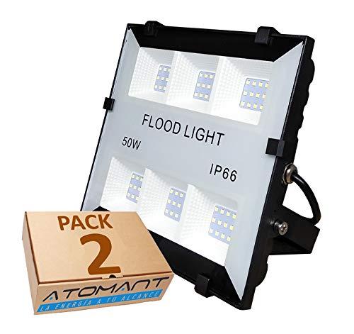 (LA) 2x Proyector Led 50w, blanco frio (6500K), para Exterior Iluminación Decoración 6500k IP65 Negro (2)