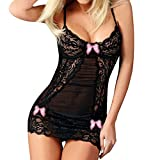 Seaintheson Women Lace Racy Underwear Sexy Bow Spice Suit Sleepwear Temptation Underwear Lace Nightdress Pink