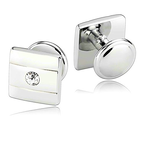Aooaz Stainless Steel Mens Cufflinks Square White CZ Strip Silver Cufflinks Promise Wedding 1.1X1.1CM