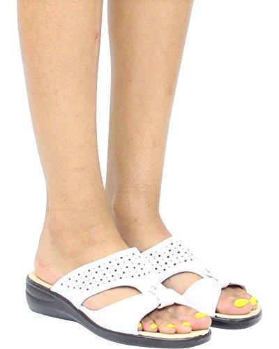 Première Vue Sandale De Confort Pour Femme En Tissu Doux Au Laser - Blanc, Blanc, 6.5