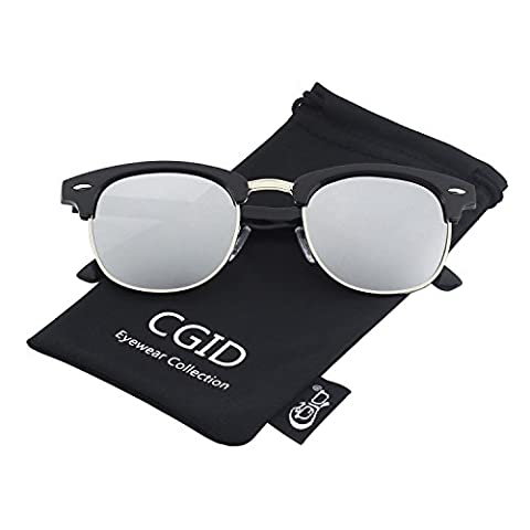 CGID Clubmaster Premium Classic Inspired Half Frame Horn Semi-Rimless Rimmed Sunglasses with Metal - Wire Frame Gradient Sunglasses