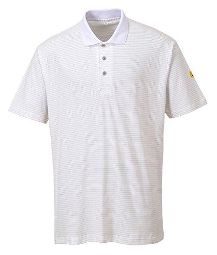 Portwest AS21 - Camisa antiestática ESD Polo, color Blanco, talla Large Blanco