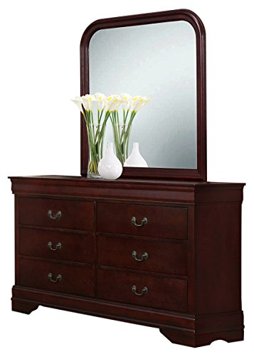 Roundhill Furniture Isola Louis Philippe Style Fully Assembled Wood Dresser and Mirror, Cherry Finish
