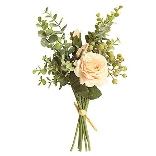 - litymitzromq Artificial Flowers, Fake Flowers1 Bouquet Artificial Flower Rose Eucalyptus DIY Garden Table Party Wedding Decor Faux Fake Flowers Floral Arrangement Peach