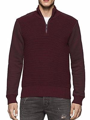 Calvin Klein Jeans Men's Quarter Zip Ottoman Tube Mixed Gauge Sweater Bordeaux Red