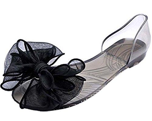 Flat Vacances Open Sandales Chaussures Women Sandals De Mineroad Toe Plage Femme Bleu Gelée Summer Bowknot ZB4ttq