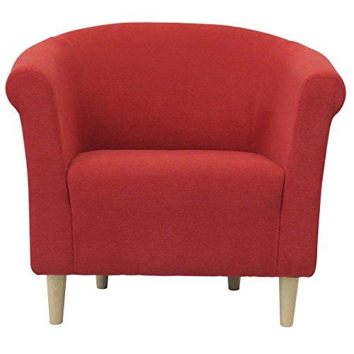 Foxhill Trading Savannah Club Chair with Birch Leg, Marsala Red (Savannah Club Chair)