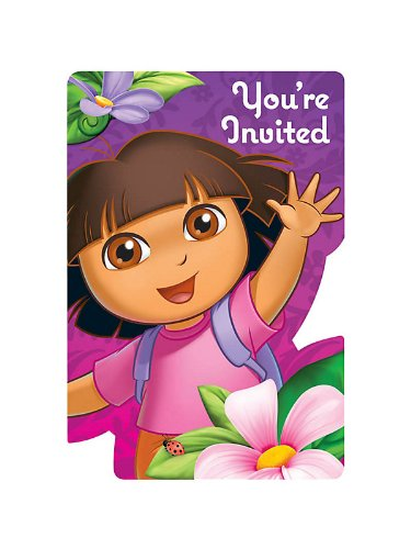 Dora Invitation - DORA'S FLOWER ADVENTURE INVITATIONS (SET OF 8)