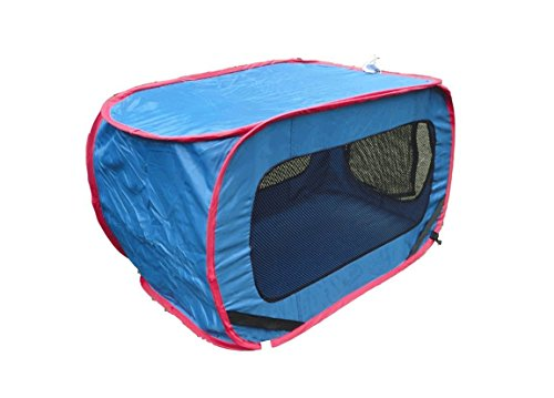 Dog Pet Cat Kennel Carrier Folding Portable Mesh Window Blue Color for Auto Car Truck RV SUV Blue (Car Kennels For Dogs)