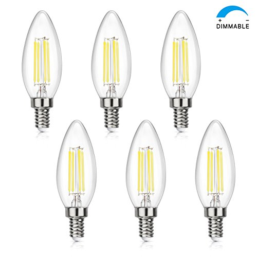 4w White Led (SHINE HAI Candelabra LED Filament Bulbs Dimmable 4 watts 5000K Daylight White Chandelier B11 LED Bulb E12 Base Decorative Candle Light Bulb ETL Listed Pack of 6)